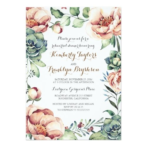 Floral Wedding Rehearsal Dinner Floral Botanical Watercolor Fall Rehearsal Dinner Card