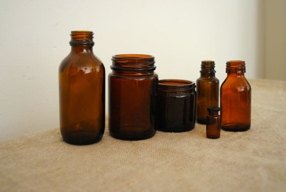Six up cycled amber apothecary Great by acreativelifestyle on Etsy