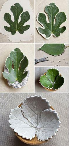 Tonschalen mit Blattmotiv | Sicher noch hübscher mit grün eingefärbtem Ton und/oder Glasur.