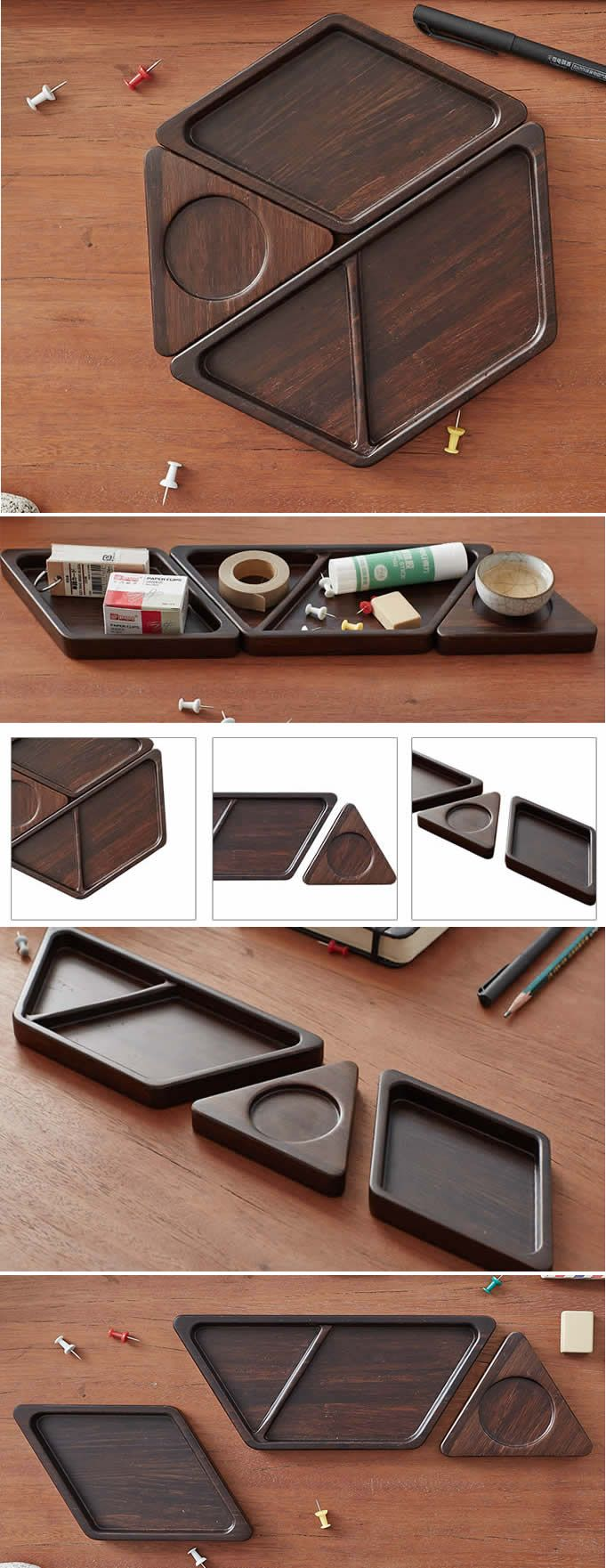 Bamboo Office Desk Organizer Tray Storage Holder Set