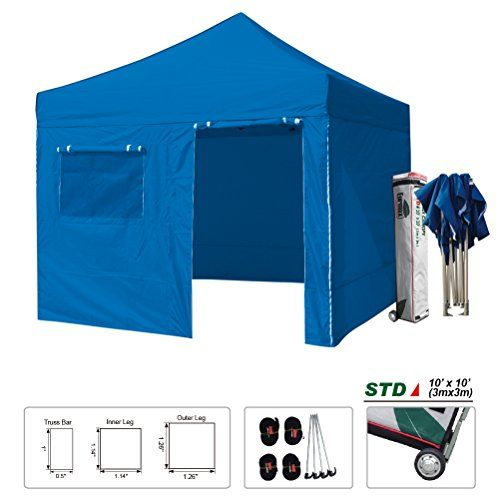 New STD 10x10 Feet Ez Pop up Instant Canopy Shade Shelter Commercial Tent Outdoor Gazebo W/4 Zipper End Side Walls W/Roller Bag (Blue)