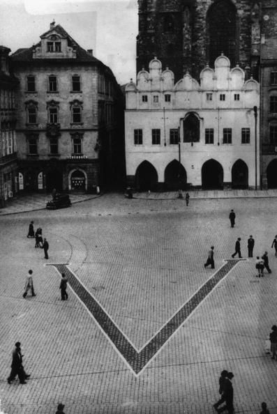 August 1941: A huge V laid by the Nazis in Prague's Old Town Square during World War II, as a response to the British V for Victory symbol. (Photo by Keystone/Getty Images)