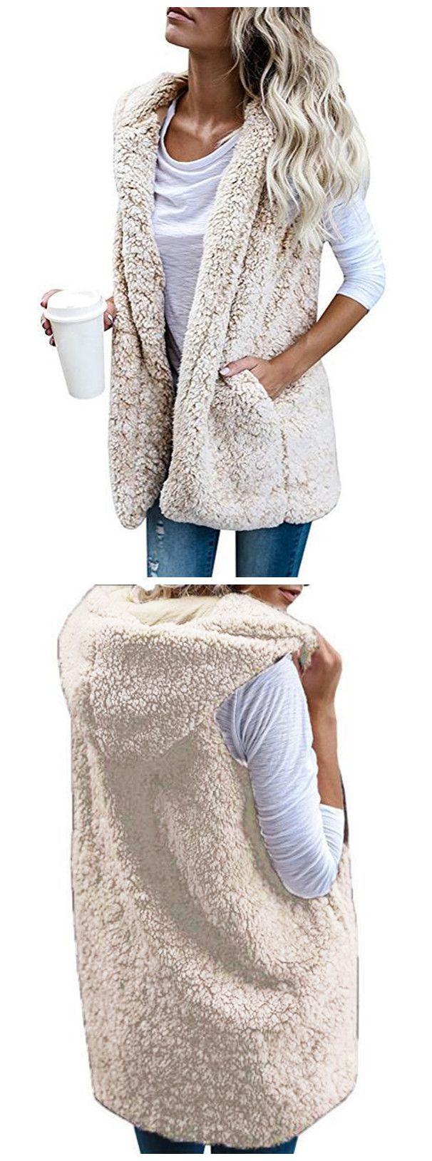 Hooded Sleevelee Solid Color Lamb Wool Vest