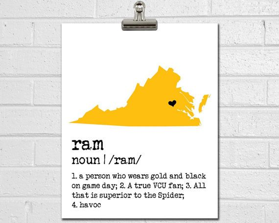 VCU Ram Print  College Dorm Decor  VCU Art  by JustArtinAround