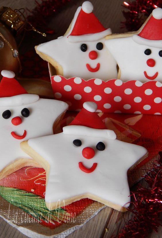 biscotti decorati di Natale stelle di babbo natale