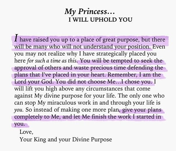 To My Princess... I will uphold you