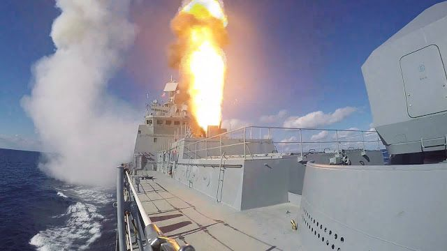 Military and Commercial Technology: Russian frigate 'Admiral Makarov' conducts missile air defence drills - Video