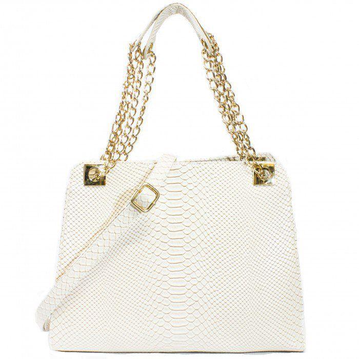 Rachelle Exotic Snakeskin Structured Chain Satchel Handbag | Discount Handbags & Purses | Handbag Heaven