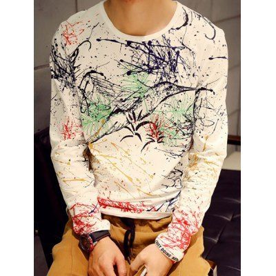 Material: Polyester, Cotton  Sleeve Length: Full  Collar: Round Neck  Style: Fashion  Weight: 0.270KG  Package Contents: 1 x T-Shirt  Pattern Type: Print  Our SizeBustLengthShoulder WidthSleeve Length M90654060 L94664261 XL98674462 2XL102684663