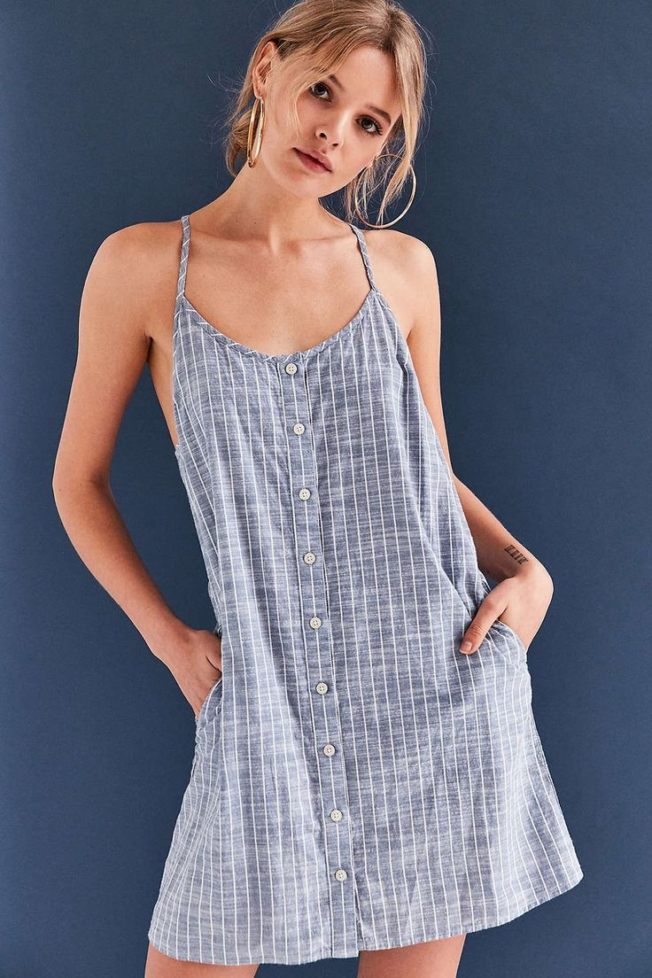 OBEY Sanders Button-Front Chambray Dress - Urban Outfitters