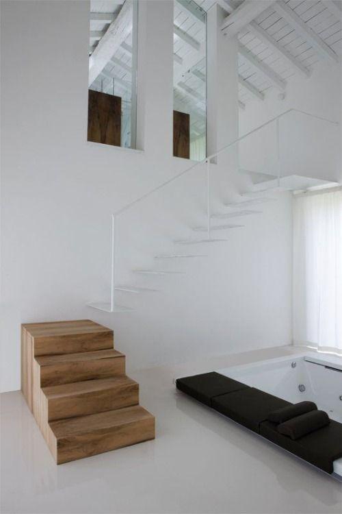 Eine Wand am Ende der Treppe? Spiel mit der Optik