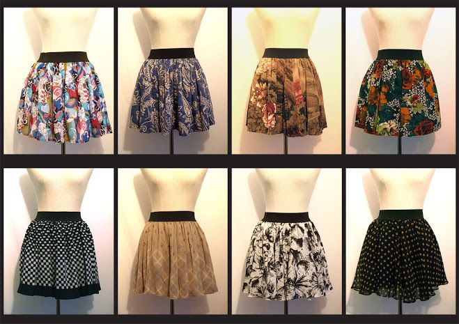 revamped mini skirts from vintage