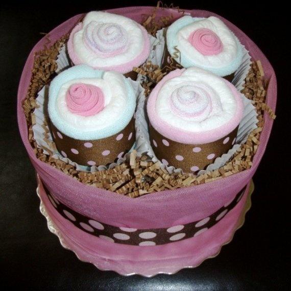 tarta pañales con cupcakes de toallitas