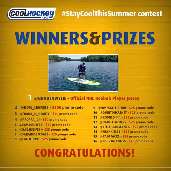 With 190 Retweets (Including @TSNBobMcKenzie) & 189 Likes On Instagram... @BradenWylie Has Won #StayCoolThisSummer Contest! Congratulations to all 16 finalists. We will be private messaging you your promo-codes tomorrow :) #NHL #Jerseys