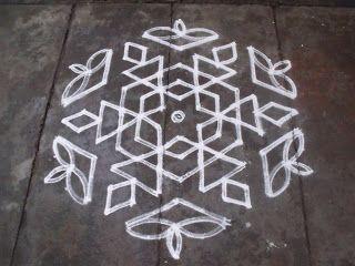 Rangoli designs/Kolam: [S.No-101] - 13-7 sandhu pulli kolam - Lamp kolam
