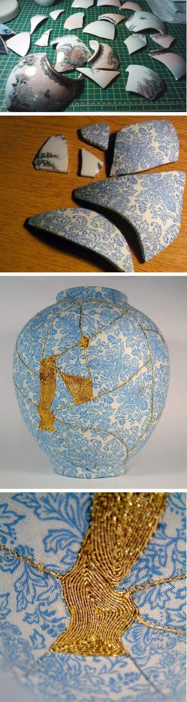 137 best kintsugi images on pinterest ceramic art porcelain and artist mimics japanese kintsugi technique to repair broken vases with embroidery reviewsmspy