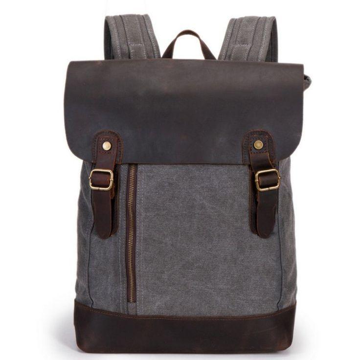 aidoer damen und herren studenten vintage canvas und leder rucksack schultasche reisetasche. Black Bedroom Furniture Sets. Home Design Ideas