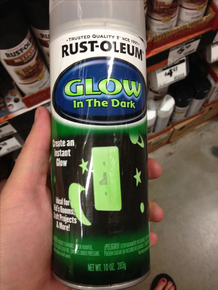 So this exists. Glow in the dark spray paint.