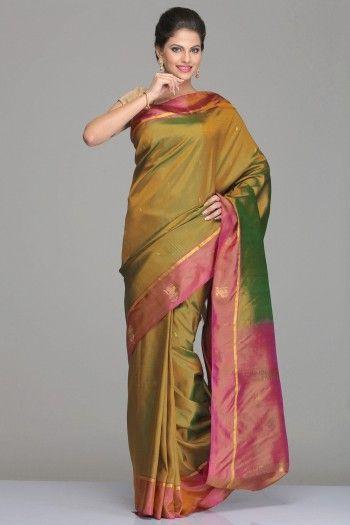 Green & Gold Dual-Shaded Kanjivaram Silk Saree With Purple Border & Pallu With Half-Fine Gold Zari Motifs