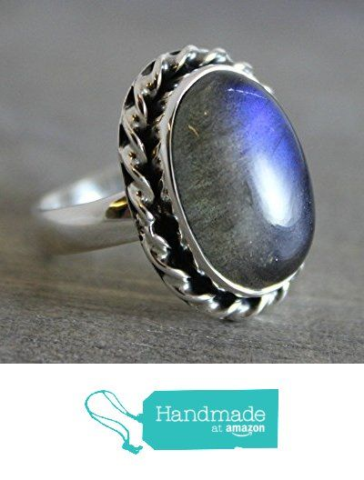 Oval Cabochon OOAK Labradorite Sterling Silver Ring, size 9 from Sophia Rose Jewellery https://www.amazon.com/dp/B01LWRZR23/ref=hnd_sw_r_pi_dp_LJJ.xbSD1S0FN #handmadeatamazon