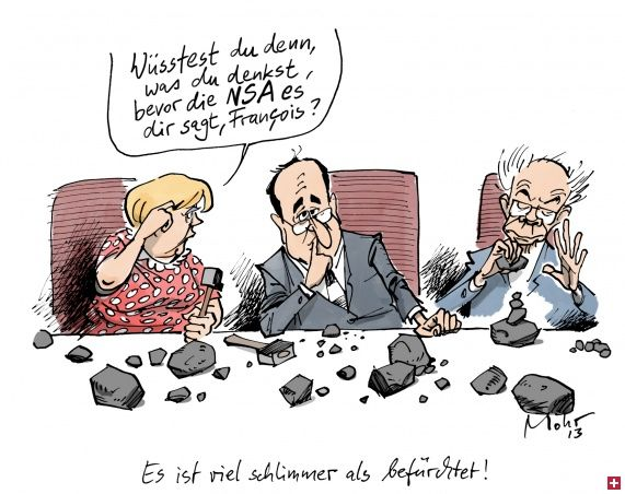 "Karikatur - Es ist viel schlimmer als befürchtet! | Cicero Online (It's worse than first thought. Angie asks Hollande: ""Would you know what you are thinking even before NSA tells you?"""