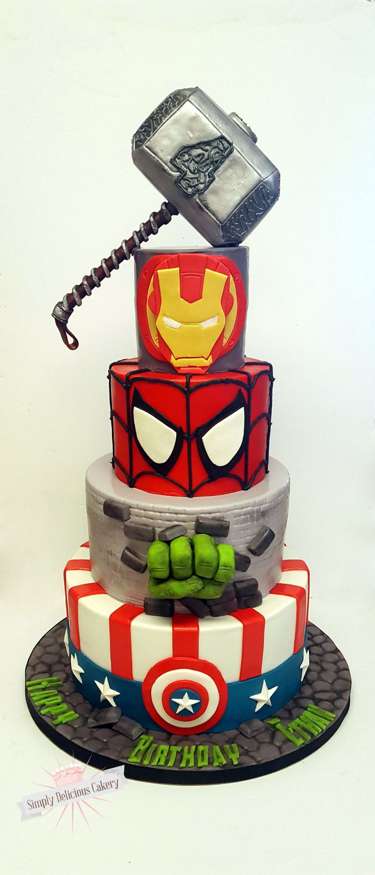 Marvel Avengers Marvel Avengers Cake. Fondant with fondant details, the hulk hand is made from Molding chocolate and the Thor hammer is RKT...