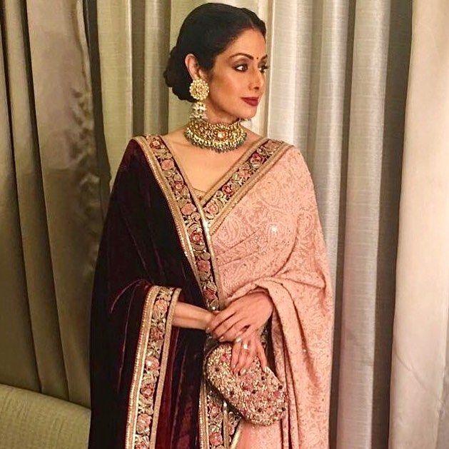 #SrideviKapoor @sridevi.kapoor @sridevibkapoor in a #Sabyasachi #Sari #Shawl #ClutchBySabyasachi @sabyasachiaccessories Jewellery by @kishandasjewellery #KishandasForSabyasachi for a Wedding #HandCraftedInIndia #TheWorldOfSabyasachi
