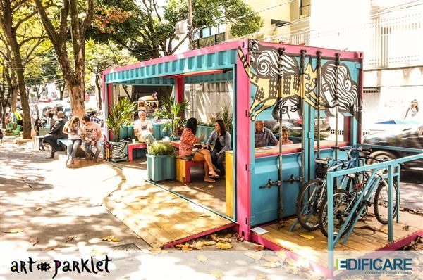 Art Parklet in container - probably not something we can do but I thought the idea of a contained space (shelter from sun and rain) was nice.