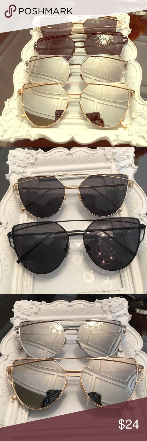 Fashion sunglasses 4 diff colors available : black, gold on black, silver, and gold on silver,    Not name brand Zara Accessories Sunglasses