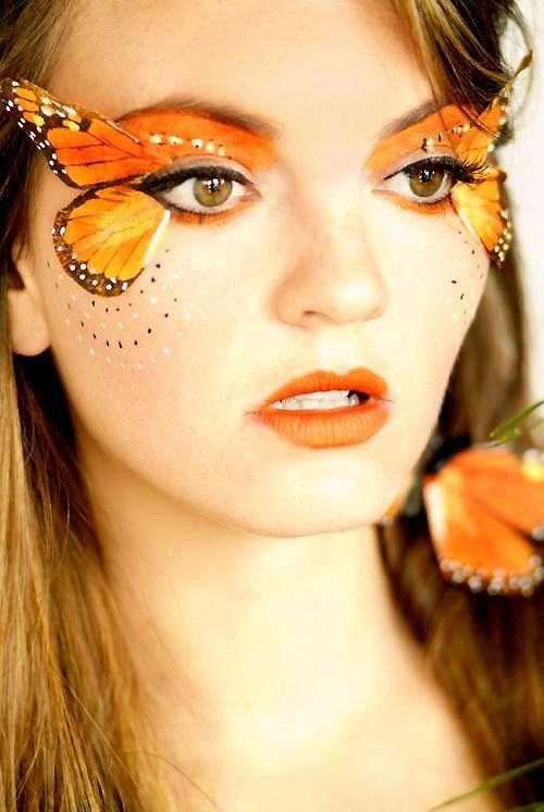 Idee make up farfalla per Carnevale - Trucco da farfalla arancione