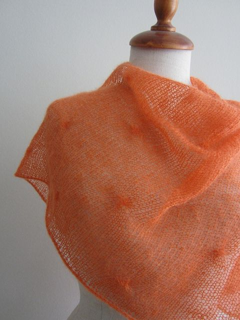 Free pattern.  Pretty, light, and practical. Great shawl for spring and summer--just enough to throw over your shoulders when you go out to dinner.  Only takes 2 skeins of lace-weight yarn.