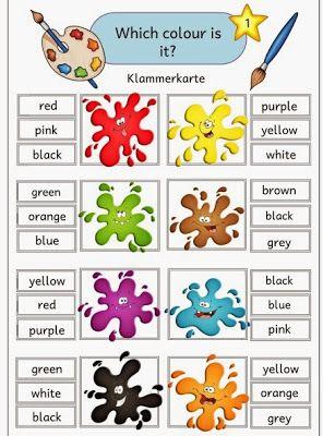 Ideenreise: Klammerkarten zu den englischen Farbwörtern