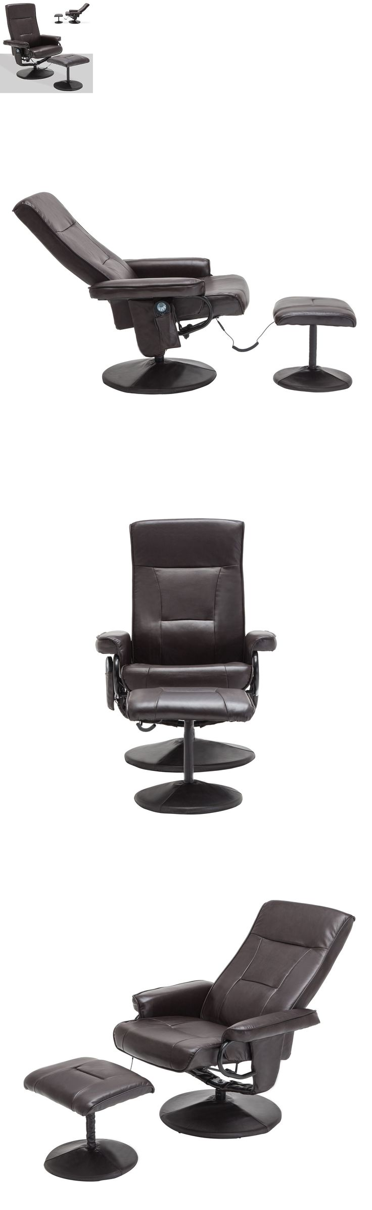 Electric Massage Chairs: Massage Leisure Recliner Swivel Chair 8 Motor Leather W/ Ottoman Footstool Brown BUY IT NOW ONLY: $138.9