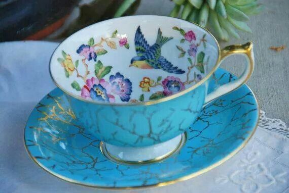 Teacup Love the bluebird!