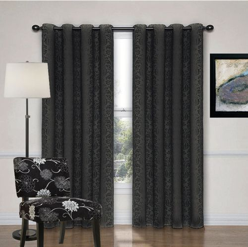 BLACK EYELET CURTAINS | DAMASK CURTAINS | QUICKFIT