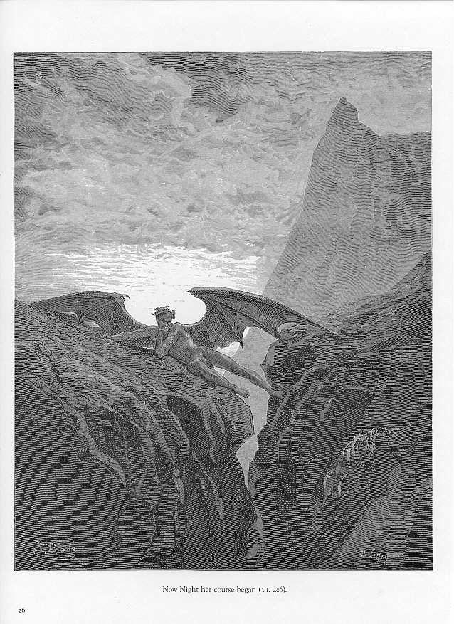 """Gustave Doré - """"Trève durant la bataille dans le Ciel"""" (1868) - Le Paradis perdu (Paradise Lost en anglais) est un poème épique écrit par le poète anglais John Milton en 1667. Le poème traite de la vision chrétienne de l'origine de l'Homme, en évoquant la tentation d'Adam & Ève par Satan, puis leur expulsion du Jardin d'Éden."""