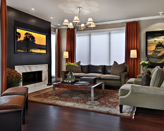 Contemporary Family Room Wall Mounted TV Design  Pictures  Remodel  Decor  and Ideas. 26 best wall mounted tv images on Pinterest