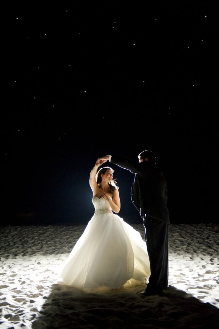 Dreamy beach night wedding photo