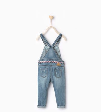 Image 2 of Belted denim dungarees from Zara