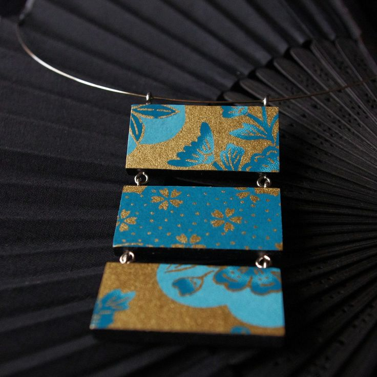"Japanese inspiration ""Kita"" - wooden turquoise-gold necklace with Japanese paper Chiyogami"