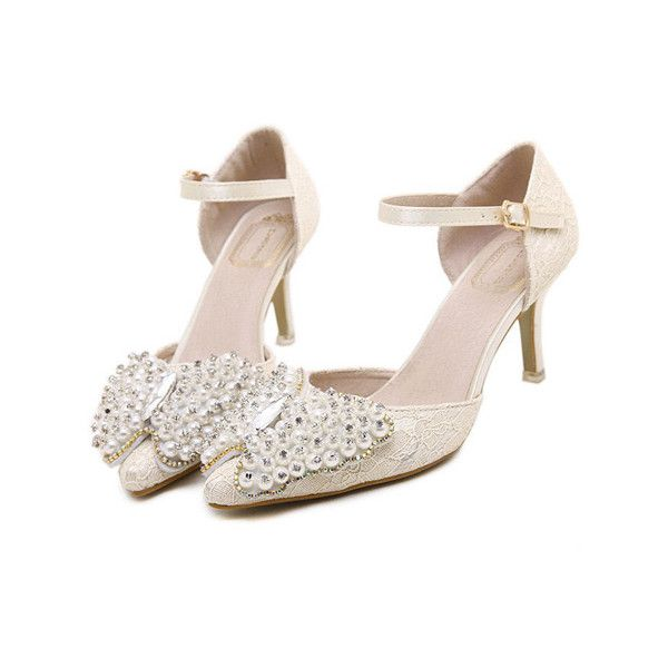High heel beading bowknot decoration brief sandals MSX-HS-2586-31 ❤ liked on Polyvore featuring shoes, sandals, pumps, embellished shoes, high heel shoes, embellished sandals, high heels sandals and beaded sandals