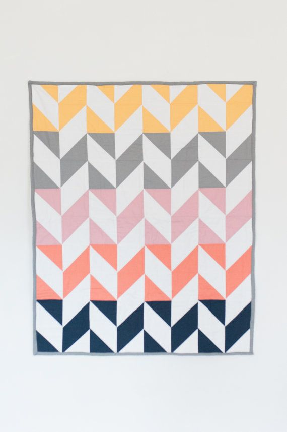 modern baby quilt herringbone color block by TheFeatherAndArrow