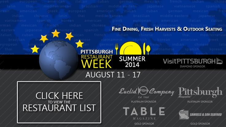 Pittsburgh Restaurant Week Summer 2014 is returning August 11-17, 2014.  Is this your