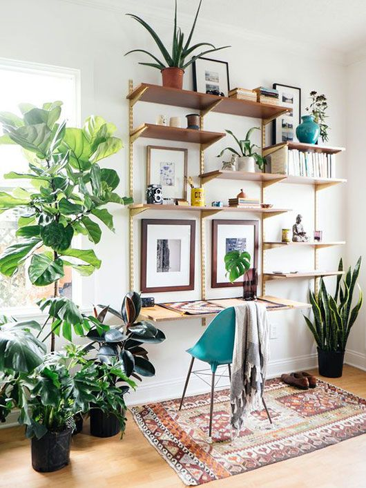 open shelving and potted plants. / sfgirlbybay #office #workspace