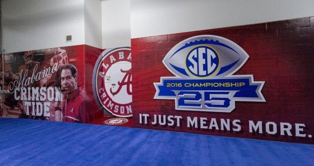 The Alabama locker room waits for its players to arrive before the Alabama vs. Florida SEC Championship football game, Saturday, Dec. 3, 2016, at the Georgia Dome in Atlanta, Ga.  Vasha Hunt/vhunt@al.com Alabama dominates Florida 54 - 16 #BAMAvsUF #SECChampionship #Alabama #RollTide #Bama #BuiltByBama #RTR #CrimsonTide #RammerJammer