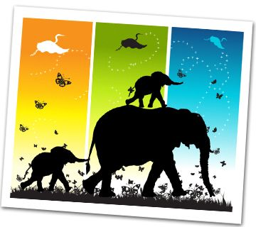 LOVE black silhouettes against colorful background. Instead of animals, perhaps children at various age levels?