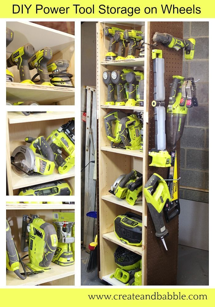 I recently built this DIY Power Tool Storage Unit on Wheels to keep my handheld power tools organized and easily accessible.