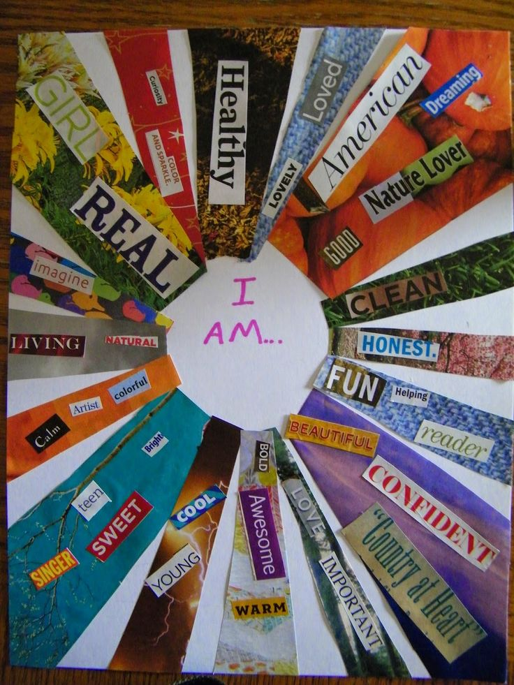 """I Am..."" Collage Art Project need to do this with the kids and see how they change in a year"