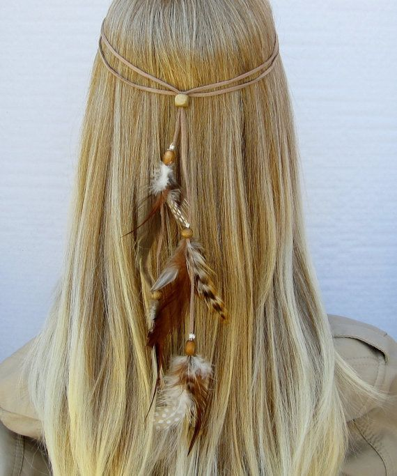 TINY DANCER hippie headband feathers suede could recreate so easily!