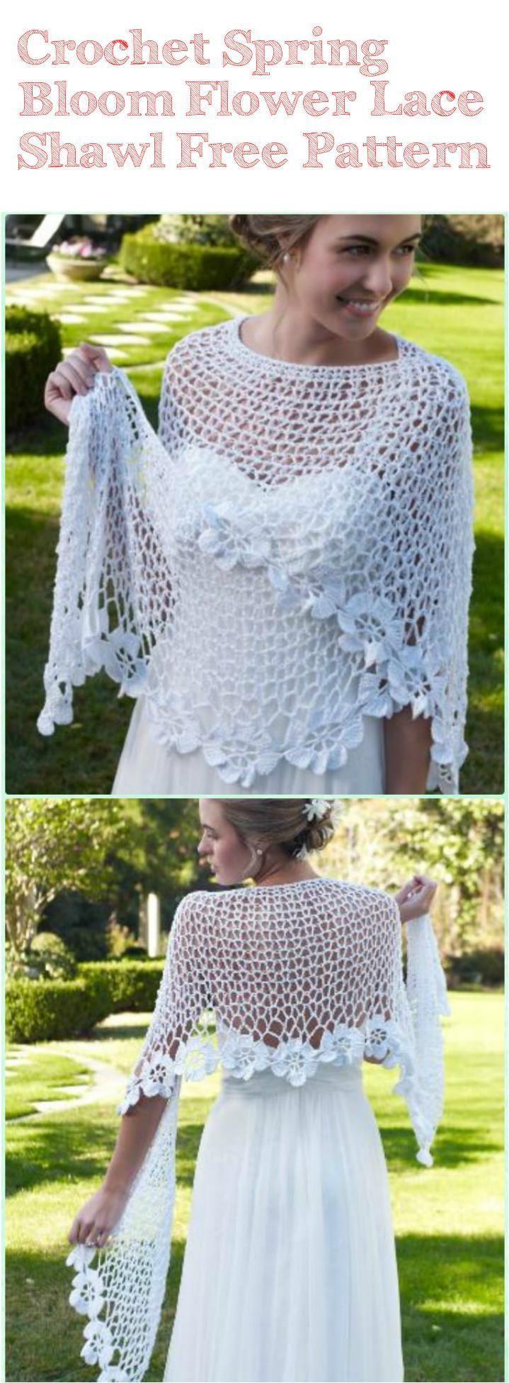 Crochet Spring Bloom Flower Lace Shawl - 10 FREE Crochet Shawl Patterns for Women's   101 Crochet